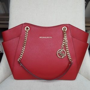 NWT Michael Kors Jet set Large chain tote scarlet